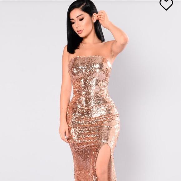 Fashion Nova Dresses Gold Sequin Prom Dress Poshmark